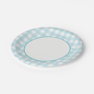Light Blue Plaid 7 Inch Paper Plate