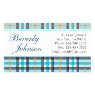Light Blue Plaid Business Cards