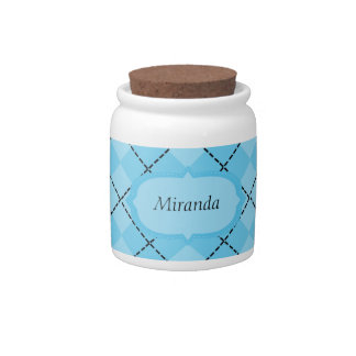 Light Blue Plaid Candy Jar