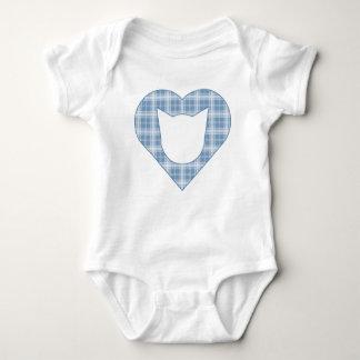 Light Blue Plaid Cat/Heart Bodysuit