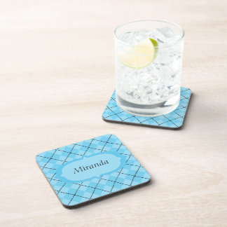 Light Blue Plaid Drink Coasters
