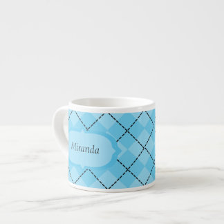 Light Blue Plaid Espresso Mug