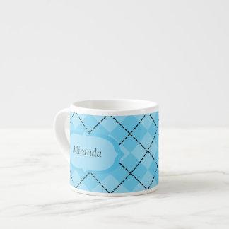 Light Blue Plaid Espresso Mug