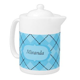 Light Blue Plaid Medium Teapot