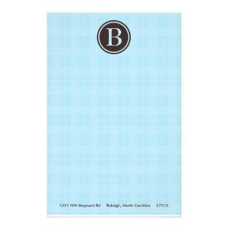 Light Blue Plaid Monogram Stationary Customised Stationery