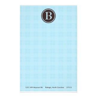 Light Blue Plaid Monogram Stationary Customized Stationery