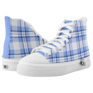 Light Blue Plaid Pattern Printed Shoes