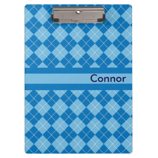 Light Blue Plaid Personalized Clipboard