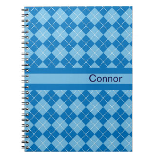 Light Blue Plaid Personalized Notebook