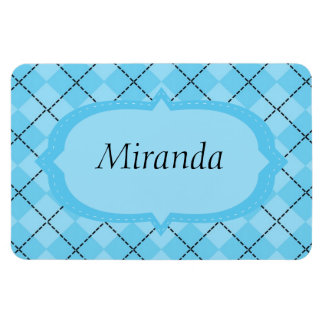 Light Blue Plaid Rectangular Photo Magnet