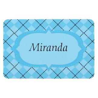 Light Blue Plaid Rectangular Photo Magnet