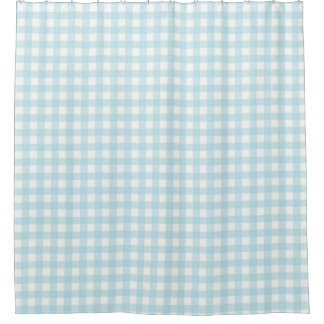 Light Blue Plaid Shower Curtain
