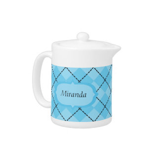 Light Blue Plaid Teapot