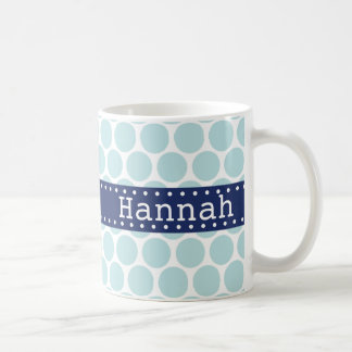 Light Blue Polka Dot Pattern Blue Banner Coffee Mug