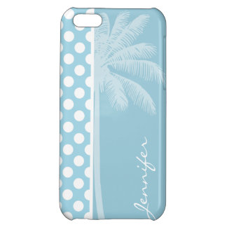 Light Blue Polka Dots; Palm iPhone 5C Cover