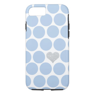 Light Blue Polka Dots Silver Heart iPhone iPhone 7 Case