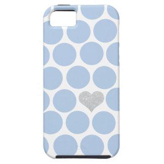 Light Blue Polka Dots Silver Heart iPhone Tough iPhone 5 Case