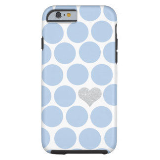 Light Blue Polka Dots Silver Heart iPhone Tough iPhone 6 Case