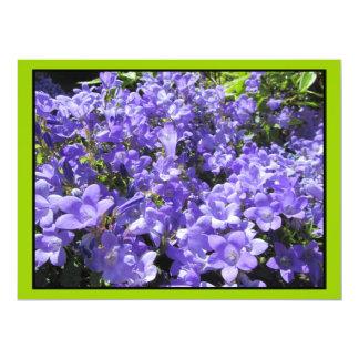 Light Blue Purple Flowers 17 Cm X 22 Cm Invitation Card