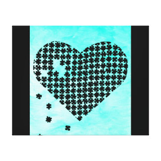 Light Blue Puzzle Heart Stretched Canvas Print