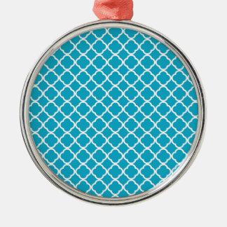Light Blue Quatrefoil Silver-Colored Round Decoration