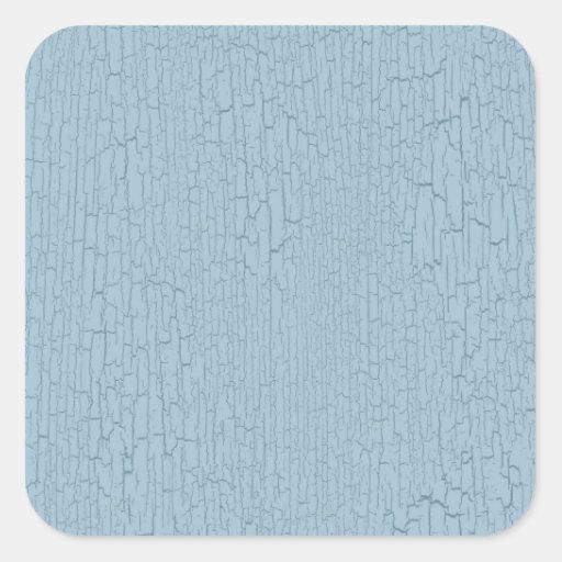 Light Blue Retro Grunge Crackled Texture Square Stickers