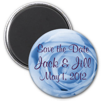 Light Blue Rose Save the Date 6 Cm Round Magnet