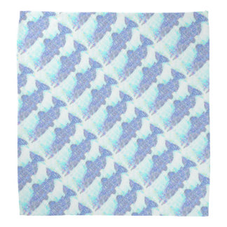 Light Blue Salmon Patterned Bandana