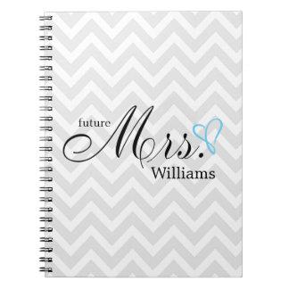 Light Blue Scribbled Heart Future Mrs Wedding Notebooks