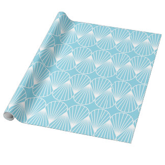 Light Blue Sea Shells Linen Wrapping Paper,30x15' Wrapping Paper