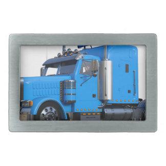 Light Blue Semi Truck in Three Quarter View Belt Buckle
