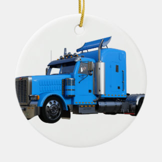 Light Blue Semi Truck in Three Quarter View Ceramic Ornament