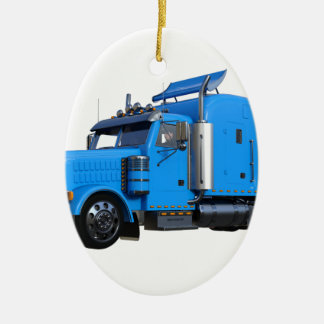 Light Blue Semi Truck in Three Quarter View Ceramic Oval Decoration