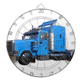 Light Blue Semi Truck in Three Quarter View Dartboard