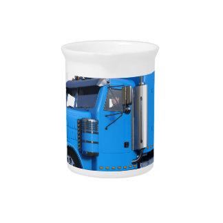 Light Blue Semi Truck in Three Quarter View Drink Pitchers