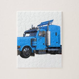 Light Blue Semi Truck in Three Quarter View Jigsaw Puzzle