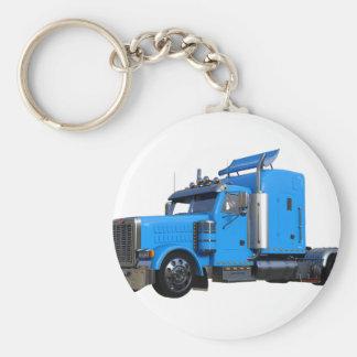 Light Blue Semi Truck in Three Quarter View Key Ring