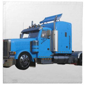 Light Blue Semi Truck in Three Quarter View Napkin
