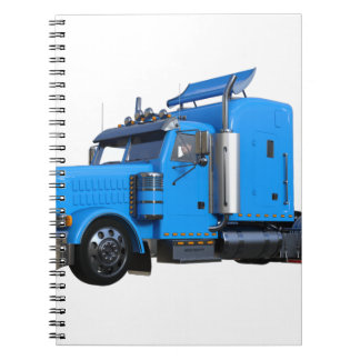 Light Blue Semi Truck in Three Quarter View Notebook