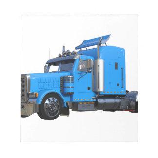 Light Blue Semi Truck in Three Quarter View Notepad