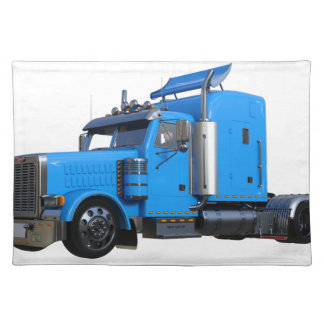Light Blue Semi Truck in Three Quarter View Placemat
