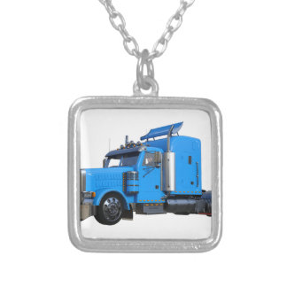 Light Blue Semi Truck in Three Quarter View Silver Plated Necklace