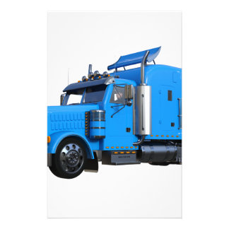 Light Blue Semi Truck in Three Quarter View Stationery