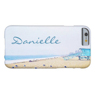 Light blue sky and sandy beach photo custom name barely there iPhone 6 case
