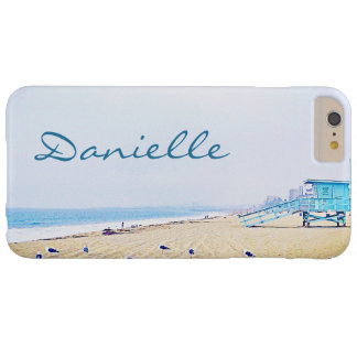 Light blue sky and sandy beach photo custom name barely there iPhone 6 plus case