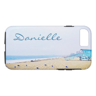 Light blue sky and sandy beach photo custom name iPhone 8/7 case