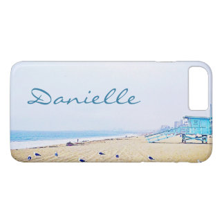 Light blue sky and sandy beach photo custom name iPhone 8 plus/7 plus case