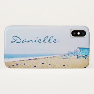 Light blue sky and sandy beach photo custom name iPhone x case