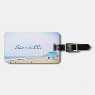 Light blue sky and sandy beach photo custom name luggage tag