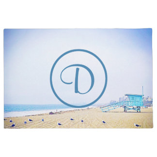 Light blue sky & sandy beach photo custom monogram doormat